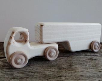 Toy Semi Truck and Detachable Trailer-Handmade Wood-Eco Friendly