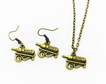 Wine Dangling Earrings, Wine Necklace, Antique Bronze Charm, Jewelries Set, Bronze, Miniature Pendant, Mini Daily Life