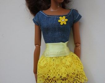 Yellow lace skirt and jean shirt outfit for 11.5 inch dolls like barbie