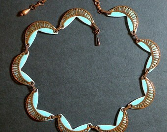 "Vintage MATISSE necklace ""Seine"", solid copper and enamel. Original 50s Jerry Fels. Sculptural modernist light turquoise choker. – cod. A193"