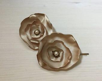 Champagne  Satin Flower Hair Pins