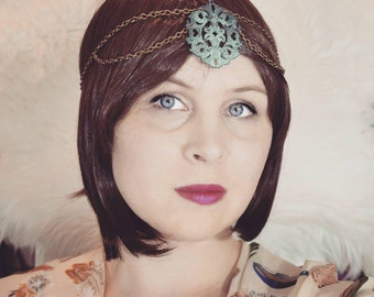 Turquoise antique brass chain headdress, art nouveau headpiece, brass headpiece, chain headdress, Bohemian headpiece, Bohemian headdress,