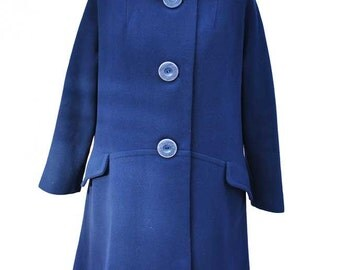 Vintage 60s Royal Blue Wool Swing Coat by Alexon with Black Mink Collar