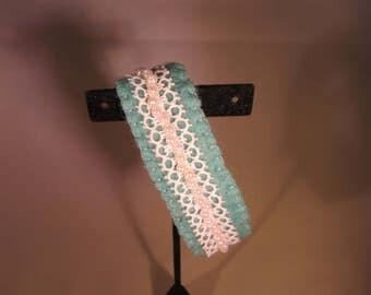 felted wool turquoise blue bangle bracelet.  Beaded bracelet