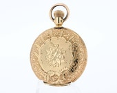 14K Gold Ladies Pocket Elgin with Flowers and Ferns