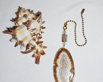 Brown Agate Slice,  Ceiling Fan Pull,  Agate Gifts,  Protective Stone,  Stone Fan Pull,  Handcrafted Gifts,  Unique Housewarming Gift