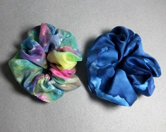 "Silk Scrunchies (set of 2 medium) ""Speckled Rainbow and Navy Blue"", Hand Painted Silk Hair Scrunchies"