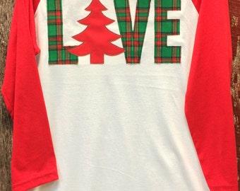 Christmas LOVE Baseball tee - Red and green plaid Christmas shirt - Christmas shirt