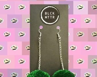 Green Pompom Chain Earrings