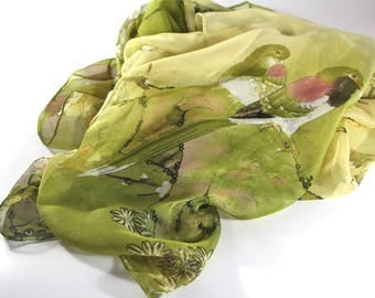 Womens scarves, Unique handmade scarves, Birds scarf, Unique scarves, Spring summer scarves, Bridal scarves, Birds accessories