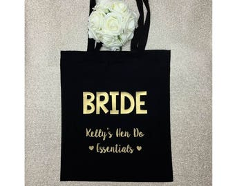 Bridal Party | Tote Bag | Personalised | Wedding | Survival Kit | Hen Party | Hen Do | Bachelorette | Weekend | Spa | Gift | Customised