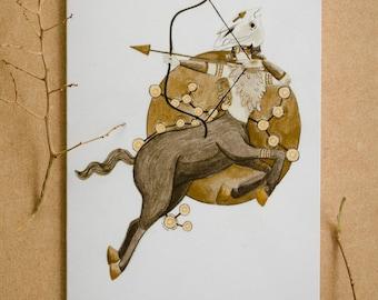 illustrated stationary card Sagittarius zodiac sign