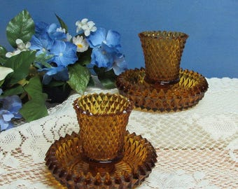Amber Diamond Point Candlestick and Votive Holder ~ Indiana Glass  ~ Set of 2 ~