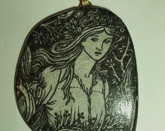 Vintage 70's Flower Girl Black White Pendant
