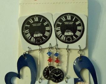 HUGE Fabulous 80's  CLOCK Heart EARRINGS