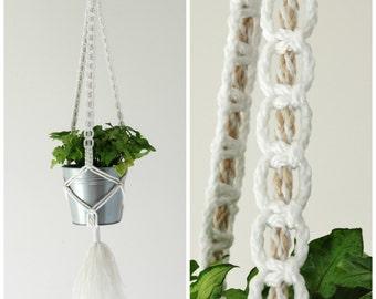 Hanging Planter // Large Macrame Plant Hanger // Long Hanging Plant Holder // White and Dunes // #4