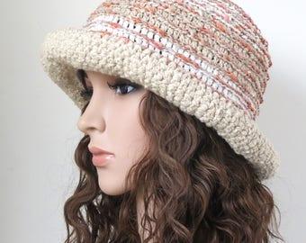 Brim Hat, Floppy Sun Hat, Beige Boho Cotton Hat, Crochet Beach Hat, Taupe White Summer Accessories