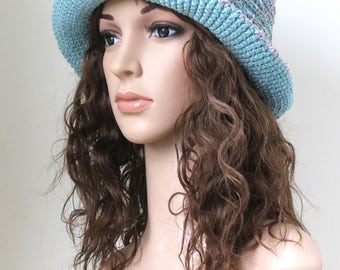 Beach Hat, Floppy Sun Hat, Brim Cotton Hat, Lavender Sea Green Summer Pastel Colors Boho Hat