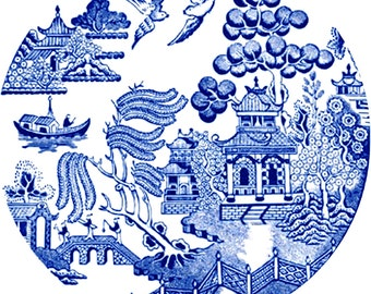 Chinoiserie Blue Willow - Art Print Printable | Blue and White Chinoiserie