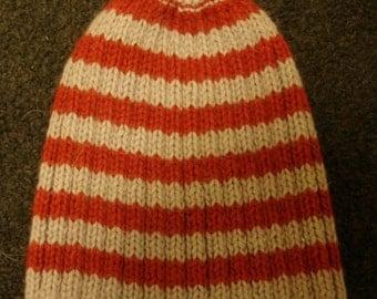 Beanie Hat - Lunar Grey - Wine Stripe