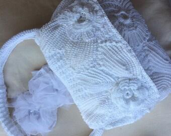 Hand crochet lace bag. Similar to D&G bag