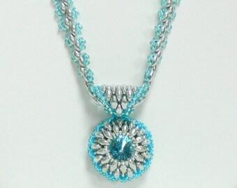 Swarovski Beaded necklace,Bezeled Rivoli necklace,Beaded jewelry,Aqumarine jewelry - Frozen/Aqumarine Rivoli necklace