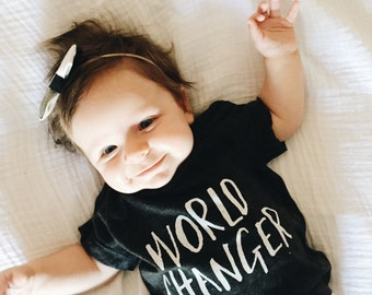 Soft Baby Tee // World Changer // Unisex Gift // Baby Shower Gift // Cute Baby Gift // The Busy Bee