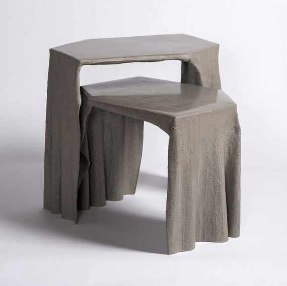 Coffee Table With Fabric: Fabric Concrete Coffee Table