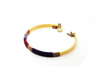 Bracelet end Golden wool multicolor