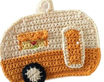 Camper Potholder,RV Pot Holder,Crochet Trivet,Travel Trailer,Glamping, Airstream,Shasta, Kitchen Decor,Housewarming,Shower Gift for Her
