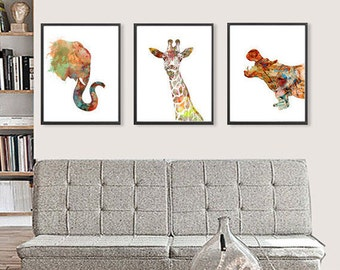 Watercolor Art Print Animal Art Elephant Giraffe Hippo, African Animals Illustration, Animal Watercolor Poster - 131/125/178