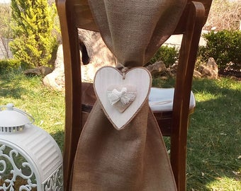 Burlap Chair Sash - Chair Swag - Bride and Groom Chair Sashes - Burlap Chair Tie - Wedding Chair Sash - Rustic Wedding Chair Sash - Set of 2