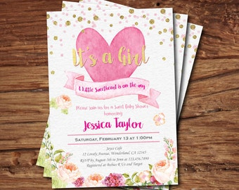 Valentine baby shower invitation. Pink and gold glitter heart baby shower invitation. Little sweetheart baby girl shower digital invite VB10