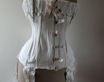 Sold - Antique maternity corset, white, cotton, 3 lace corset, La Samaritaine, Box
