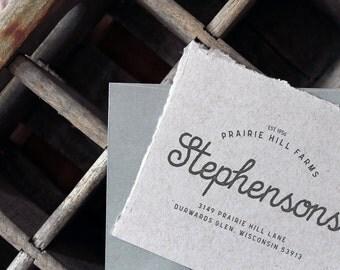 Return Address Stamp - Custom Address Stamp, Typography Rubber Stamp, Family Farm/Land, Gift