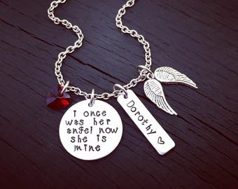I Once Was Her Angel, Now She's Mine Memorial Necklace | Mother Memorial | Sister Memorial | Grandma Memorial | Daughter Memorial | Keepsake