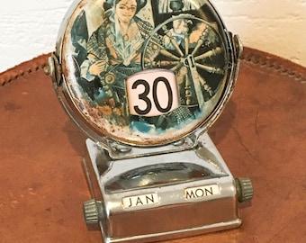 Mid Century Perpetual Calendar, Dutch, Souvenir of Holland, Vintage Desk Top Calendar, Retro, Industrial