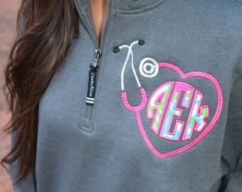 Lilly Pulitzer Monogrammed Stethoscope Quarter Zip Pullover Sweatshirt