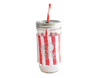 Red Stripe Mason Jar Tumbler, Monogram Mason Jar Cup, Gifts for Her, Unique Gifts, Gifts Under 25, Monogram Gifts, Personalized Gifts
