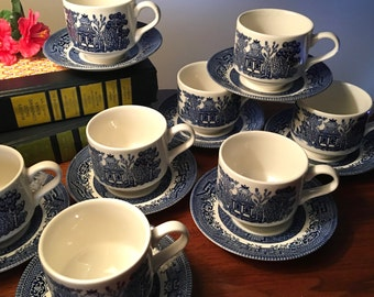 """4 FREE extra sets! Buy 8 Churchill """"Blue Willow"""" cup and saucer sets and get 4 free for a total of 12 sets"""