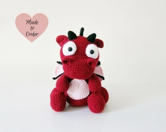 MADE TO ORDER: Amigurumi Baby Red Dragon Crochet Stuffed Toy