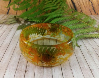 Fern bracelet Yellow green bracelet Nature bracelet Natural jewelry fairytale gift Real flowers bracelet Fern jewelry Terrarium jewelry