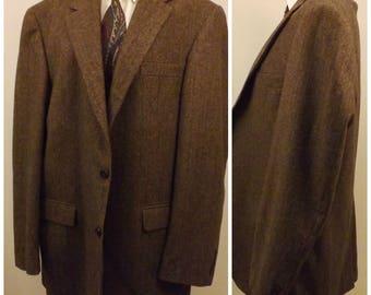 80s Chereskin Brown Camel Hair Herringbone Sport Coat Size 42 L
