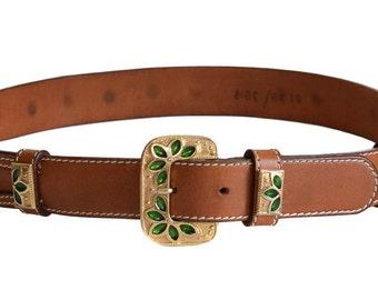 Vintage Belt, Les Copains Green Stone Belt, Women's Belt, 1980s Belt,  Leather Belt, Italian Belt, Green Belt, Gift For Her, Saint Patrick