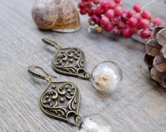 Real flowers earrings, bohemian earrings, botanical jewelry, nature earrings, dried flowers jewelry, glass earrings, eco earrings