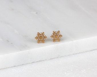 Snowflake Earrings/ Winter Stud Earrings/ Winter Earrings/ Tiny Snowflake Studs/ Rose Gold Snowflakes