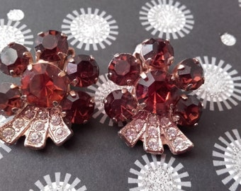 Mink Brown and crystal clear vintage rhinestone gold plated clip on earrings