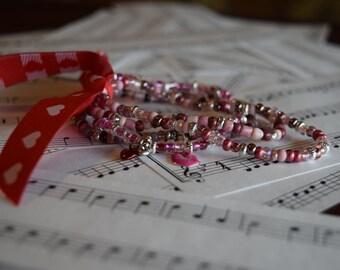Elastic Pink Variation (4) Romantic Bracelets V04