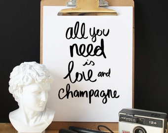 Affiche all you need is love and champagne, scandinave, affiche design, minimaliste, affiche moderne, décoration murale, photographie
