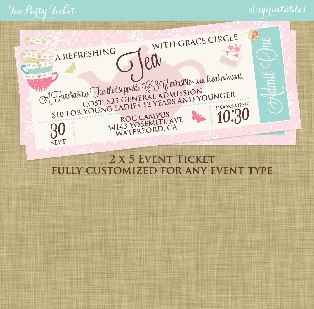 Mothers Day Tea Social Event Ticket Template Church – Fundraising Ticket Template